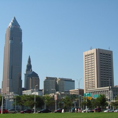 Some hotels in downtown Cleveland have views of the skyline.