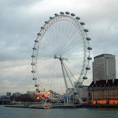 The London Eye is nestled along the South Bank of the River Thames.