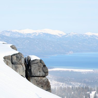 Deep snow, blue water and bluebird skies combine for great Tahoe skiiing.