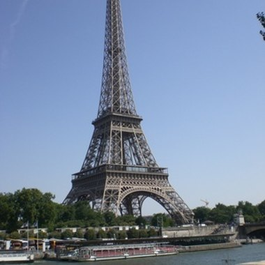 A view of the Eiffel Tower from the Seine River.
