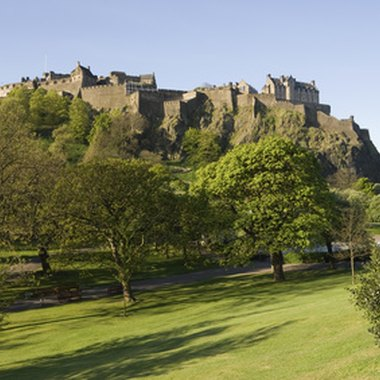 Edinburgh Castle overlooks the New Town across Princes Street Gardens.