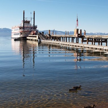Lake Tahoe's two famous paddlewheelers, the Tahoe Queen and the M.S. Dixie, depart from a marina adjacent to the dog-friendly Zephyr Cove Resort.