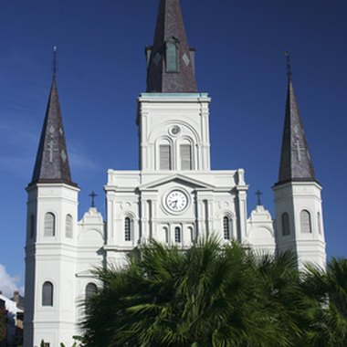Many discount hotels are located just blocks from New Orleans' famed St. Louis Cathedral
