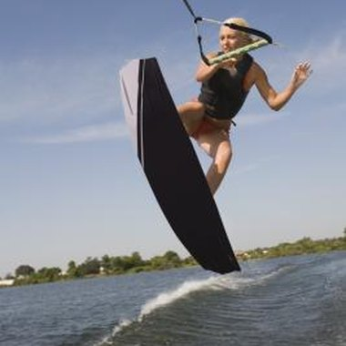A tower allows wakeboarders to jump higher when crossing the boat's wake.