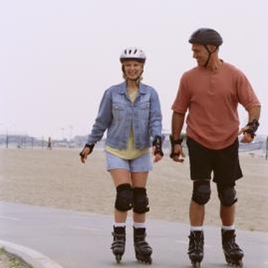 Rollerbladers can skate along the boardwalk in Venice, California.