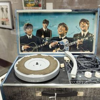 Record player featuring a Beatles inset