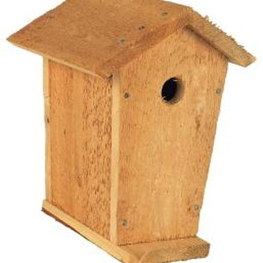 Dress up a plain wooden birdhouse with natural river rocks.