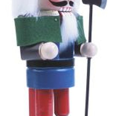 Wooden nutcrackers often are painted and have intricate carved details.