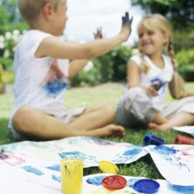 Kids will enjoy painting at your art-themed party.