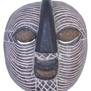 African mask carved in wood.