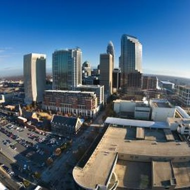 Many hotels in Charlotte have views of the city skyline.