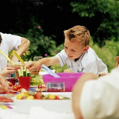 Finger foods are a simple way to serve children at a garden party.