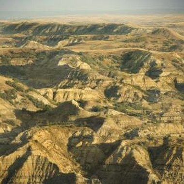 North Dakota's western terrain is dominated by badlands formations.