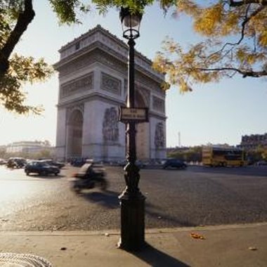 The Arc de Triomphe, a famous landmark on the Champs Elysee