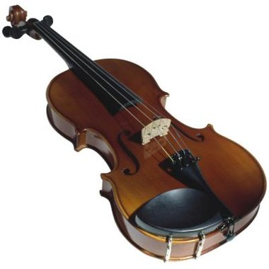 The chin rest is the black oval piece that is attached to the violin's body.