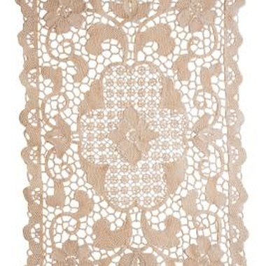 Note the edging around this Belgian lace runner.
