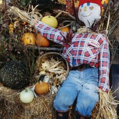 Children can make a real scarecrow for a fall craft.
