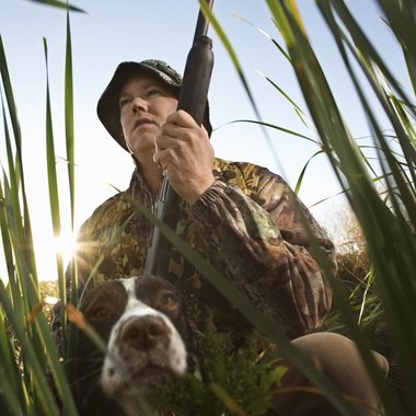 A hunter with his dog.