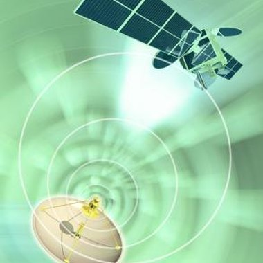 Satellite Internet signals travel to and from orbiting transmitters.