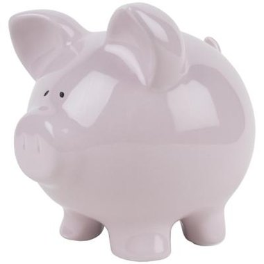 A piggy bank in a pastel shade is fitting for a pink baby shower.