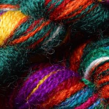 Use brightly-colored wool yarn for Cherokee finger weaving.