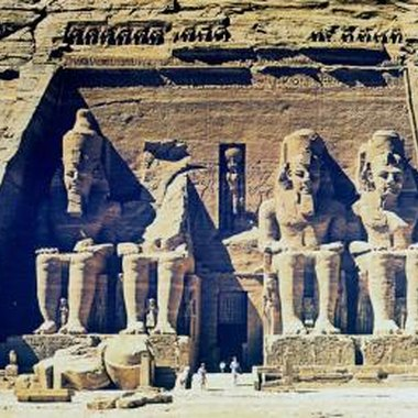 The statues of Ramses II outside the Great Temple at Abu Simbel