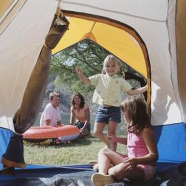Roll up canvas doors are also used in tents.