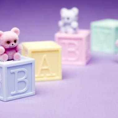 Perch bears on top of blocks when decorating for this baby shower theme.
