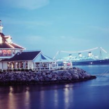 The Long Beach harbor's lights and restaurants attract visitors.