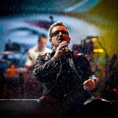 U2 performed at the Glastonbury Festival in England.