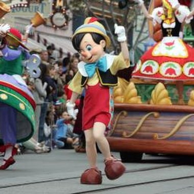 Pinocchio taking part in a parade at Disneyland.