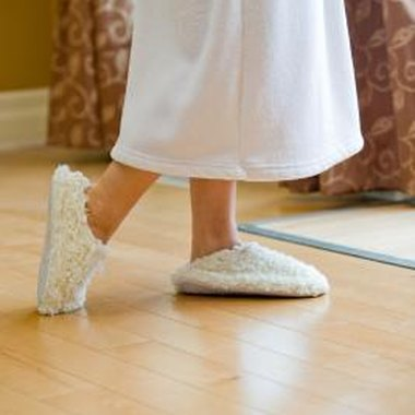 Make fabric slippers that you can wear out of the shower.