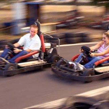 Go-kart racing leads to both competition and laughter at adult birthday parties.