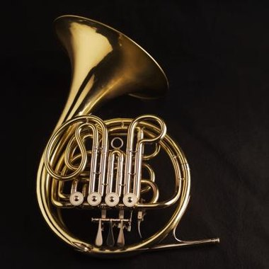 The narrow tubing on the French horn forms a circle shape.