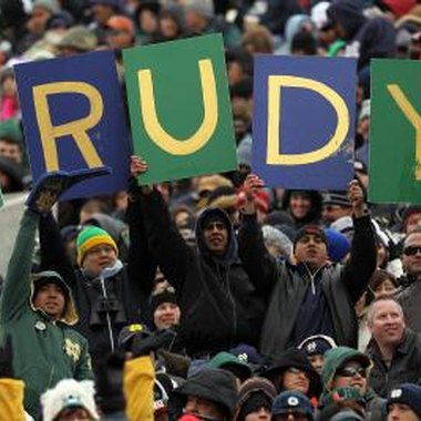 In the film, the Notre Dame fans chanted for Rudy.