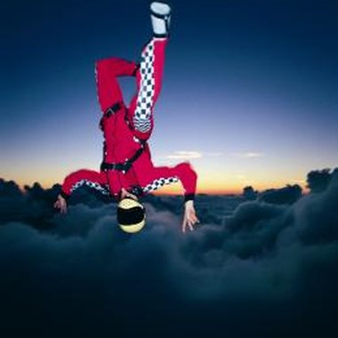 Parachuting at night requires much training and experience.