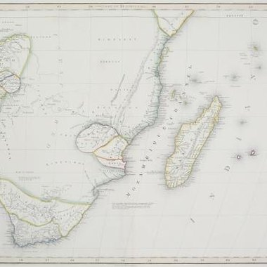A colonial period map of the Cape of Good Hope and Madagascar.