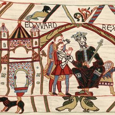 The Bayeux tapestry, Edward the Confessor, is stitched in crewel embroidery.