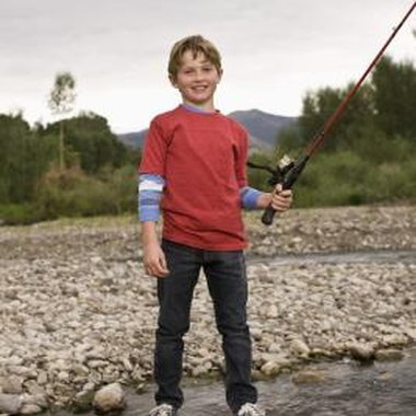 Teach a child to fish with rods and hooks.