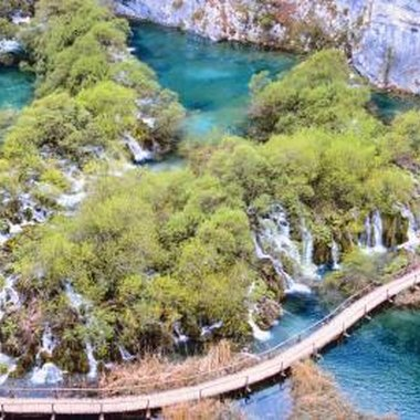 An aerial view of Plitvice Lakes National Park, Croatia