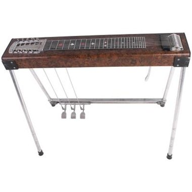 The pedal steel guitar is a lap steel with pedals that change the pitch of individual strings, creating 'bending' sounds