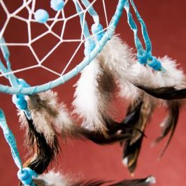 Traditional dream catchers are made with natural fiber hoops.