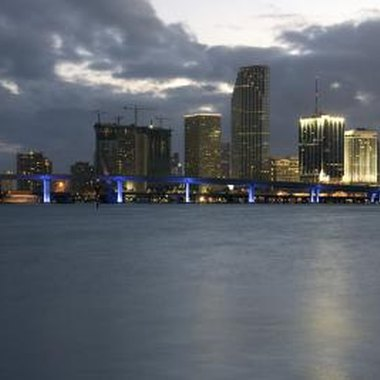 Downtown Miami overlooks Biscayne Bay and houses the Financial District.
