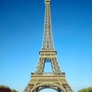 Mimic the shape and structure of the Eiffel Tower in your design.