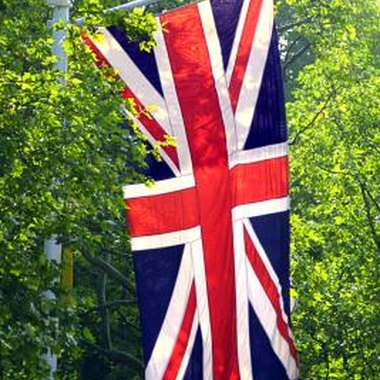 The British flag is colorful and distinctive.