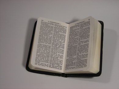 The Bible is cited by book, chapter, verse and version.
