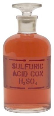 Sulfuric acid is a corrosive acid made from inorganic compounds.