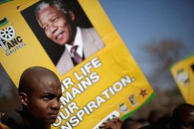ANC activist Nelson Mandela later become President of post-apartheid South Africa.