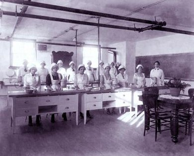 A traditional home economics class consisted entirely of women.