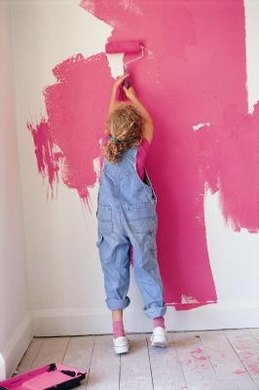 It is hard for a young artist to keep paint where it belongs.